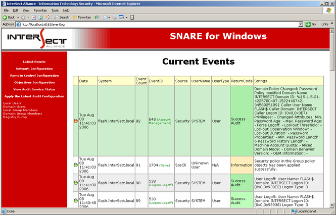 Snare Agent for Windows Screenshot