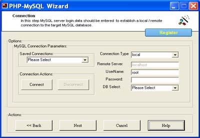 PHP MySQL Wizard Screenshot