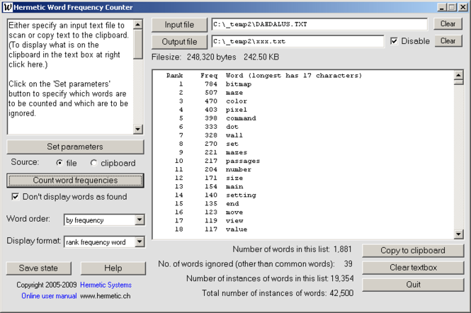 Hermetic Word Frequency Counter Screenshot