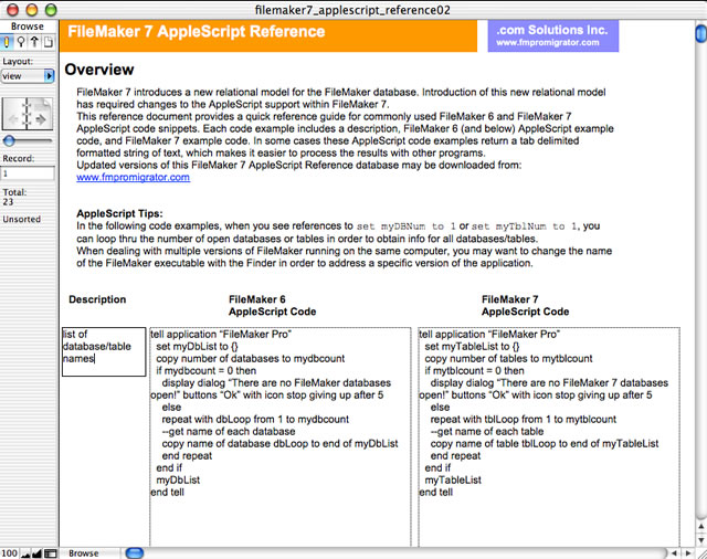 FileMaker 7 AppleScript Reference Screenshot