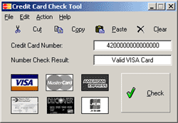 Credit Card Check Tool Screenshot