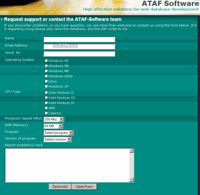 ATAF-Support Screenshot