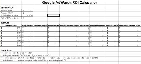 AdWords ROI Calculator Screenshot