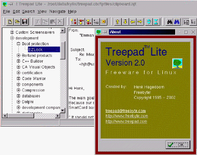! TreePad Lite for Linux Screenshot