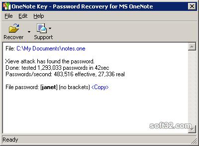 OneNote Password Recovery Key Screenshot 3