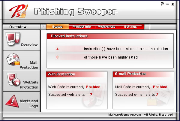 Phishing Sweeper Screenshot