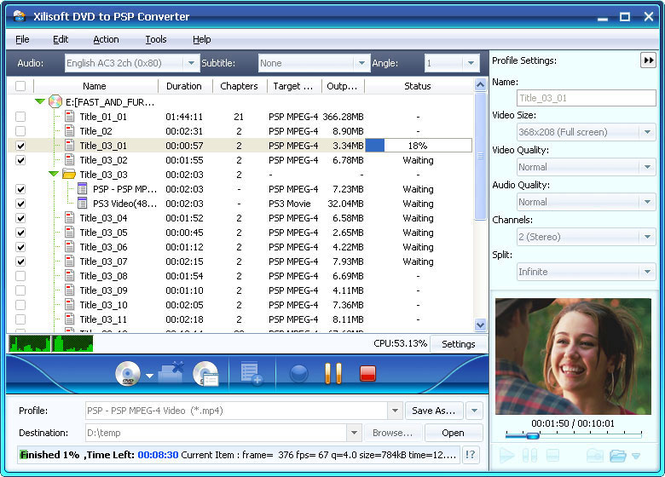Xilisoft DVD to PSP Suite Screenshot 2