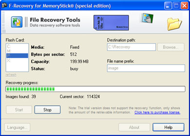 F-Recovery for MemoryStick Screenshot