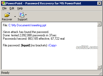 Powerpoint Password Recovery Key Screenshot 2