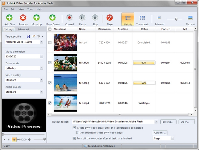 Sothink Video Encoder for Adobe Flash Screenshot