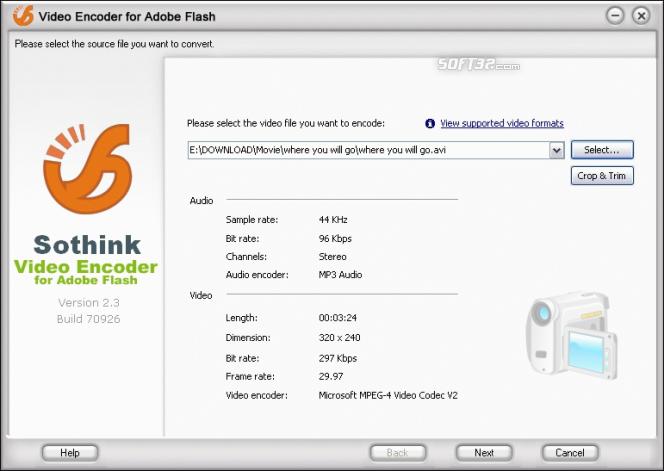Sothink Video Encoder for Adobe Flash Screenshot 3