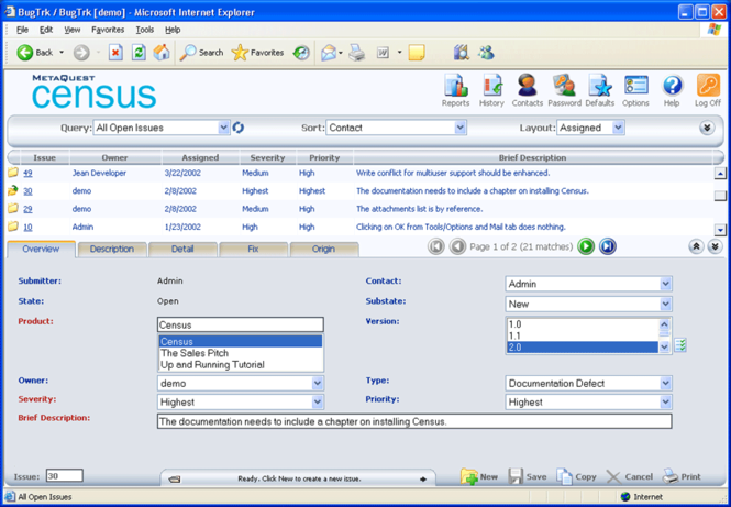Census Bug Tracking and Defect Tracking Screenshot