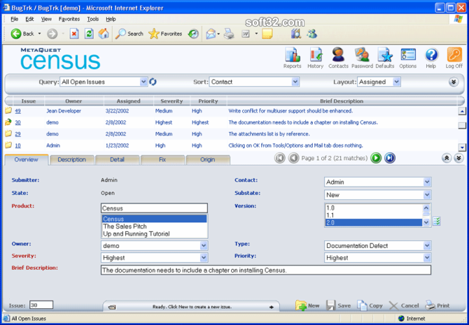 Census Bug Tracking and Defect Tracking Screenshot 3