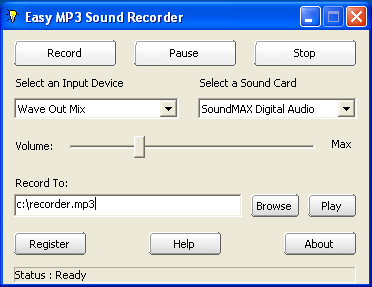 KYDSOFT Easy MP3 Sound Recorder Screenshot