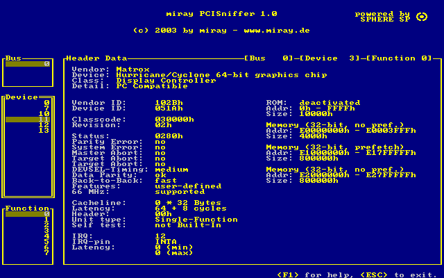 PCISniffer Screenshot 1