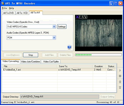 AVI To MPEG Encoder Screenshot 1