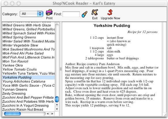 Shop'NCook Cookbook Reader for Mac Screenshot 1