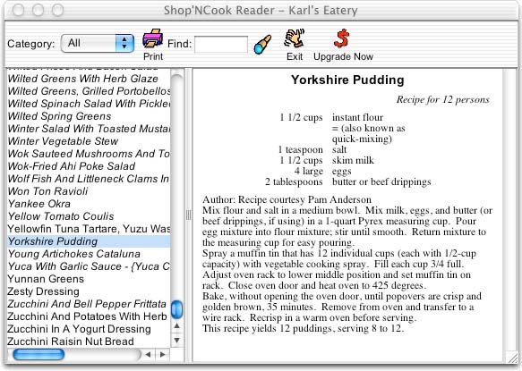 Shop'NCook Cookbook Reader Screenshot
