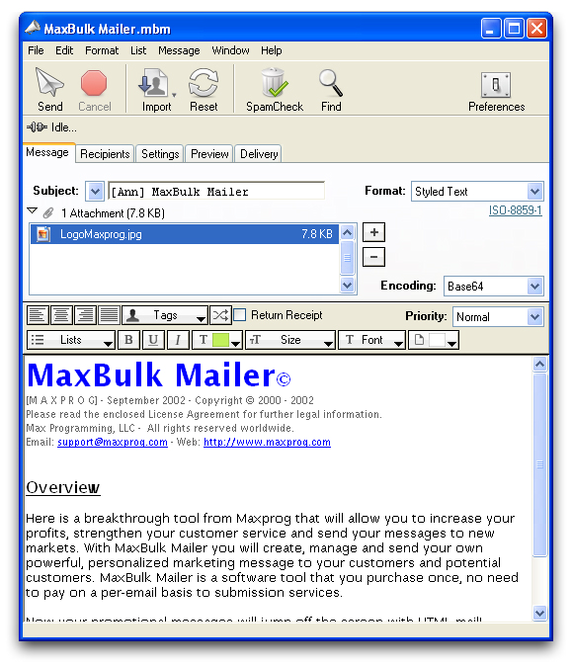 MaxBulk Mailer Screenshot 1