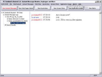 Busted.Net Keylogger and Message Monitor Screenshot 3