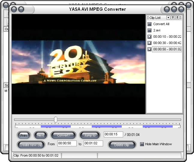 YASA AVI MPEG Converter Screenshot