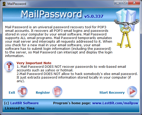Mail Password Screenshot