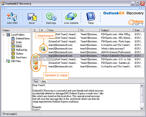 OutlookEX Recovery Screenshot 2