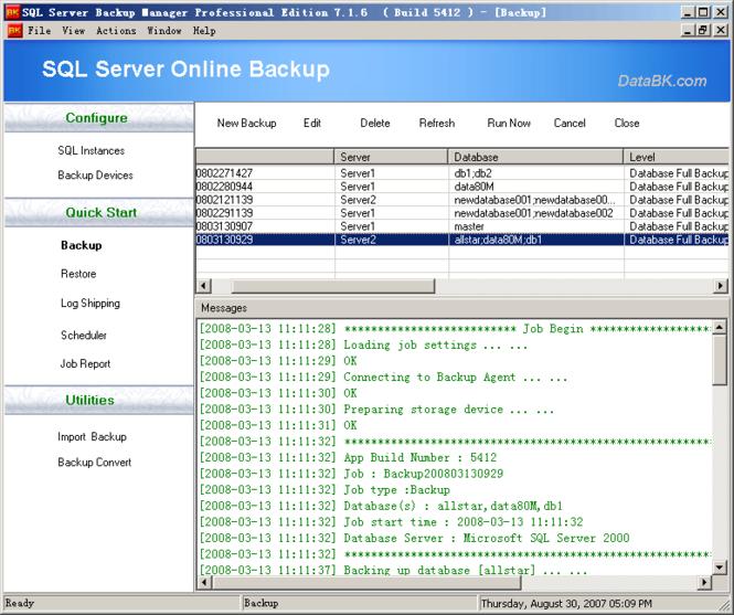 SQL Server Backup Screenshot