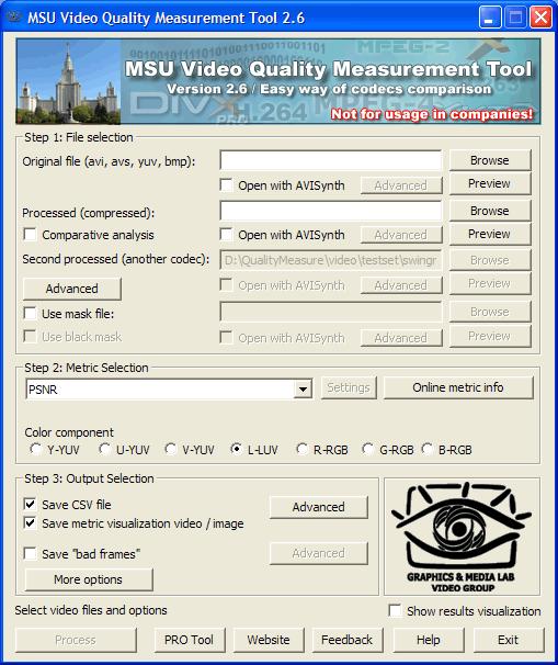 MSU Video Quality Measurement Tool Screenshot 2