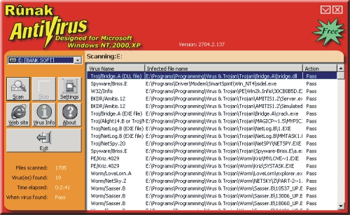 Runak Antivirus 9X 2705 Screenshot