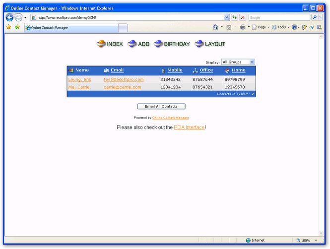 Online Contact Manager Screenshot