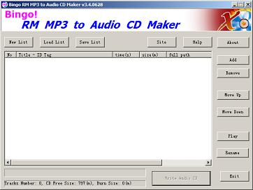 Bingo! RM MP3 to CD Maker Burner Screenshot