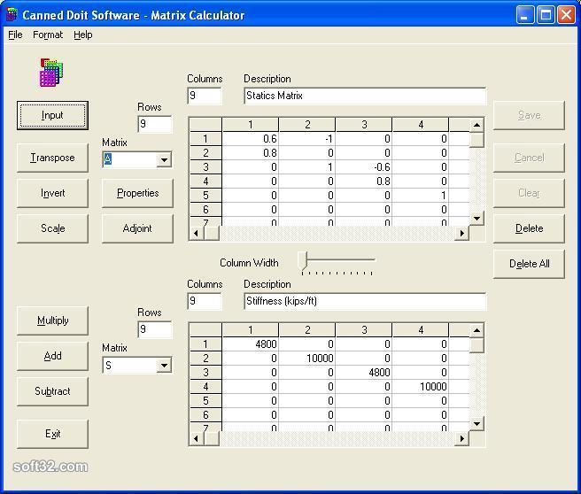 Matrix Calculator Screenshot
