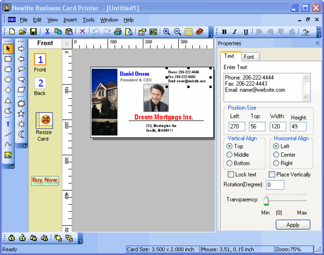 Newlite Business Card Printer Screenshot 1