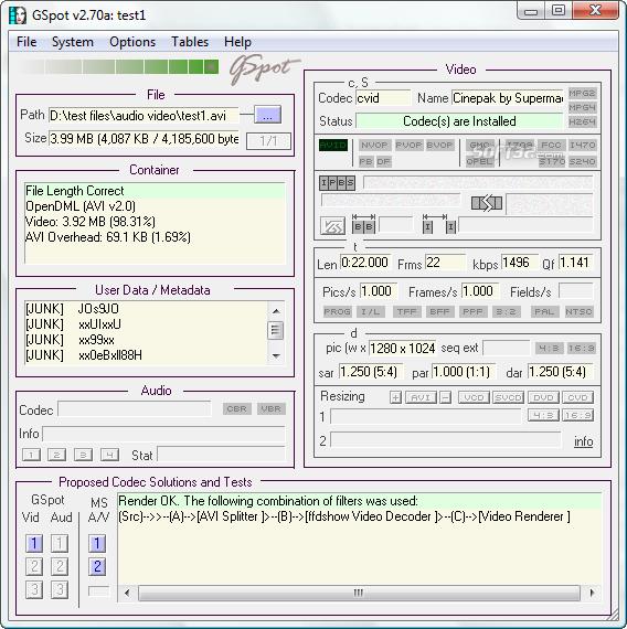 GSpot Screenshot 6