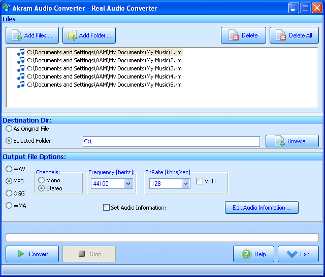 Akram Audio Converter Screenshot