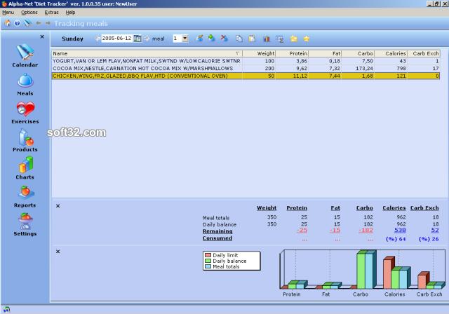 Alpha-NET 'Diet Tracker' Screenshot