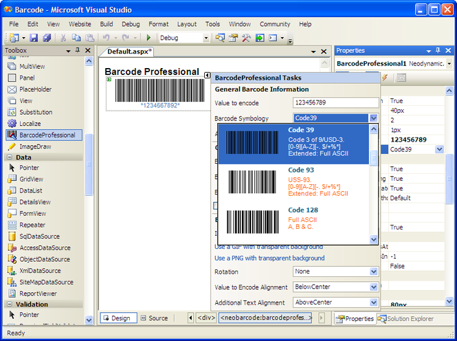 ASP.NET Barcode Professional Screenshot