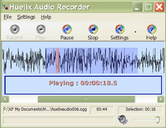 Huelix Audio Recorder Screenshot
