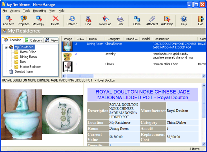 HomeManage Home Inventory Software Screenshot
