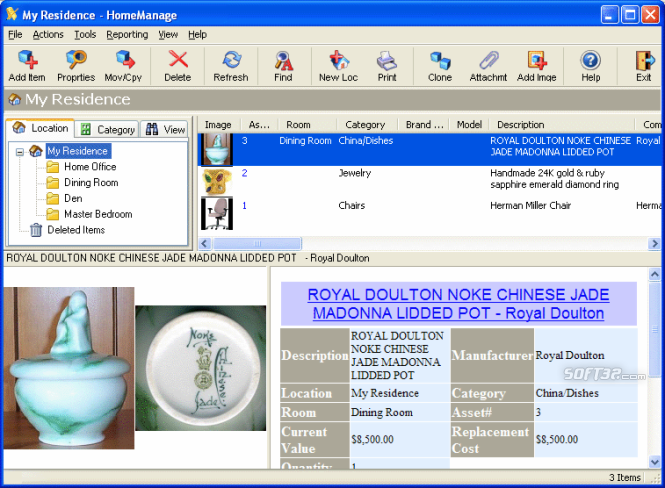 HomeManage Home Inventory Software Screenshot 2