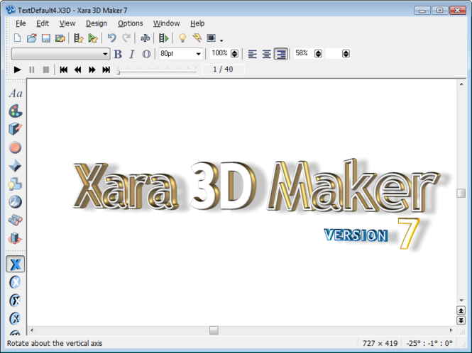 Xara 3D Screenshot