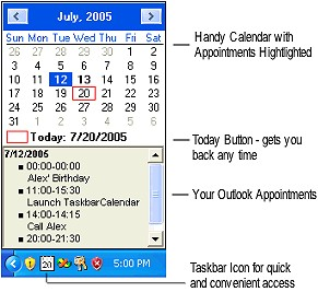 TaskbarCalendar Screenshot