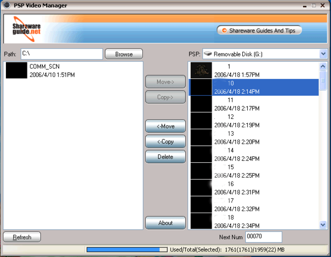 PSP Video Manager Screenshot