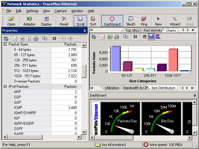 TracePlus Ethernet Screenshot