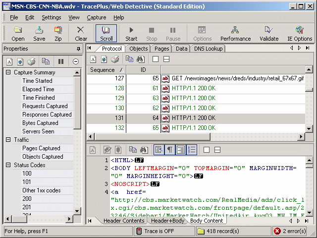 TracePlus Web Detective (Standard Edition) Screenshot