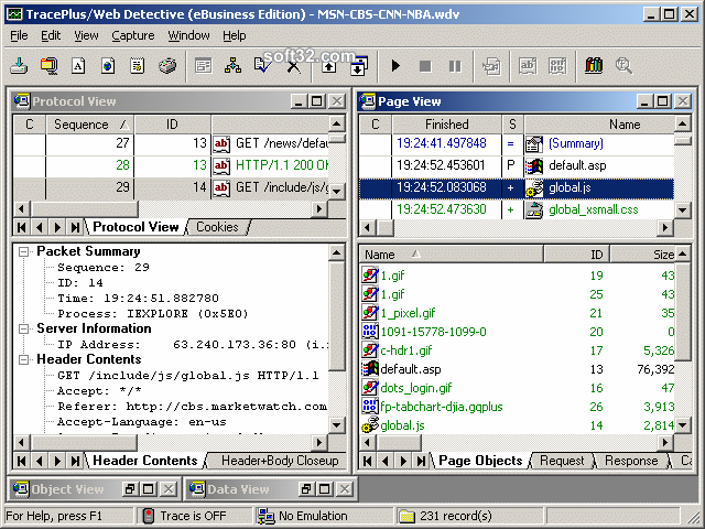 TracePlus Web Detective (eBusiness Edition) Screenshot 2
