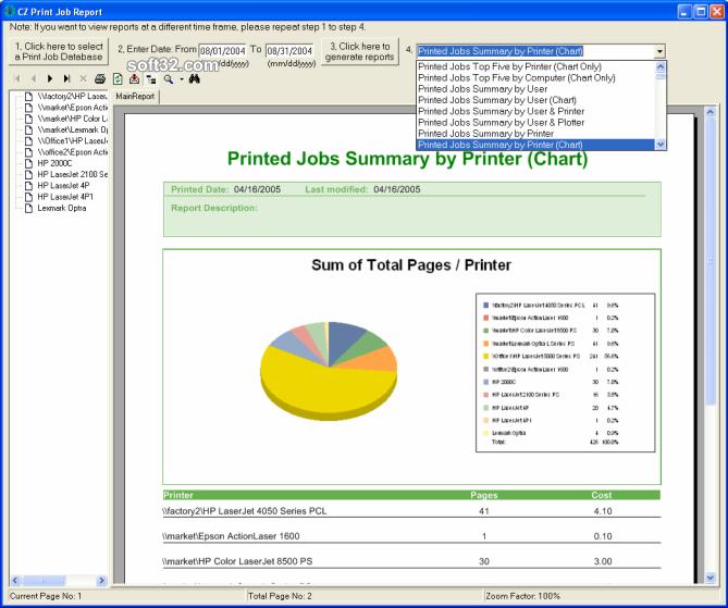 CZ Print Job Report Screenshot 2