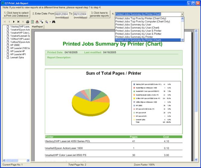 CZ Print Job Report Screenshot