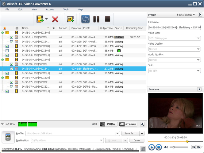 Xilisoft 3GP Video Converter Screenshot 1